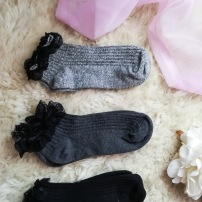 3 PK Grey Lace Trim Socks / £2.00